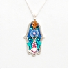 Purple flower Hamsa Necklace by Ester Shahaf
