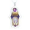 Purple Hamsa Necklace by Ester Shahaf