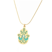 Small Turquoise Doves Hamsa Necklace by Ester Shahaf