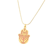 Small Pink Menorah Hamsa Necklace by Ester Shahaf