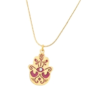 Small Gold Plated Hamsa Necklace by Ester Shahaf