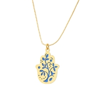 Small Gold Plated Tree Hamsa Necklace by Ester Shahaf