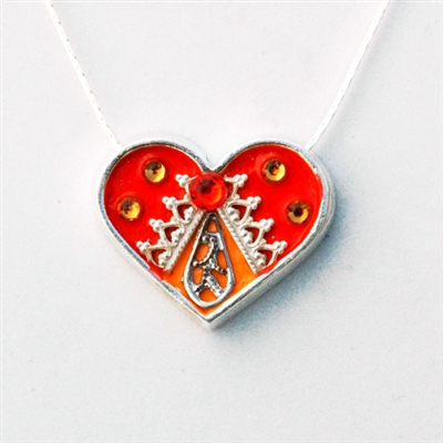Orange Medium Silver Heart Pendant by Ester Shahaf