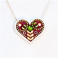 Wheat Branch Medium Red Silver Heart Pendant by Ester Shahaf