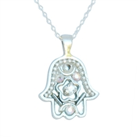 White-Silver Hamsa Necklace by Ester Shahaf