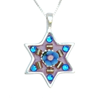 Colorful Star of David Necklace