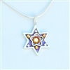 Purple Flower Wheat Branch Star of David Necklace - Small by Ester Shahaf