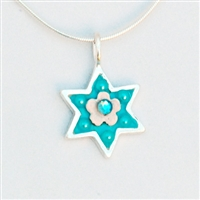 Light Blue Flower Wheat Branch Star of David Necklace - Small by Ester Shahaf