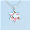 Pink Hearts Wheat Branch Star of David Necklace - Small by Ester Shahaf