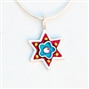 Red & Blue Flower Star of David Necklace - Small by Ester Shahaf
