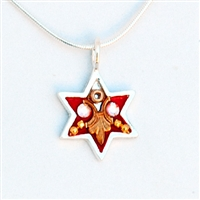 Red  Star of David Necklace - Small by Ester Shahaf