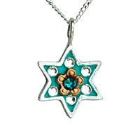 Bluish Star of David Necklace by Ester Shahaf