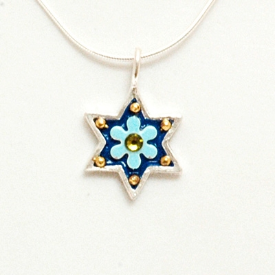 Blue Flower Small Star of David Necklace by Ester Shahaf