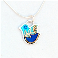 Blue  Silver Dove Necklace by Ester Shahaf