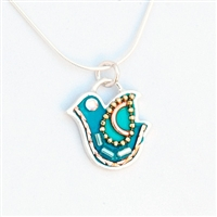 Turquoise  Silver Dove Necklace by Ester Shahaf