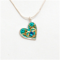 Blue Small Silver Heart Pendant by Ester Shahaf
