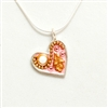 Pink Small Silver Heart Pendant by Ester Shahaf