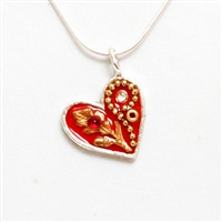 Red Small Silver Heart Pendant by Ester Shahaf