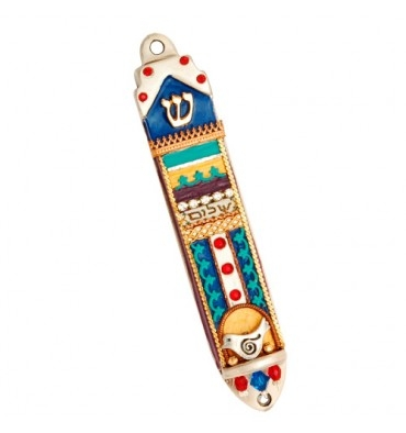 """Shalom"" Mezuzah Case with Dove by Ester Shahaf"