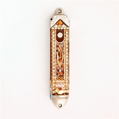 Brown Mezuzah Case by Ester Shahaf