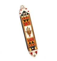 Golden Hamsa Mezuzah Case by Ester Shahaf