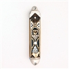 Black Mezuzah Case with Flowers by Ester Shahaf