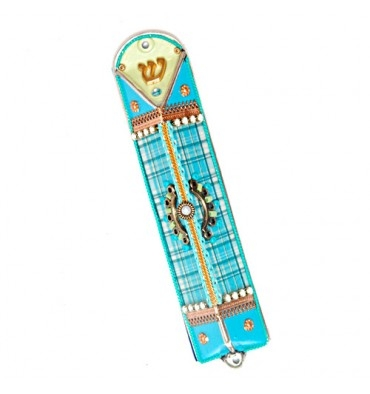 Light Blue Triangle Mezuzah Case by Ester Shahaf