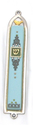 Basic Light Blue Oriental Mezuzah Case by Ester Shahaf