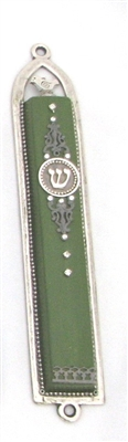 Basic Green Oriental Mezuzah Case by Ester Shahaf