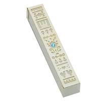 Silver-White Flowers Mezuzah Case by Ester Shahaf
