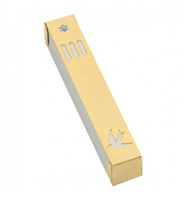 Dove Mezuzah Case - Gold & White by Ester Shahaf
