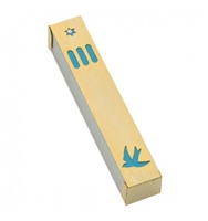 Dove Mezuzah Case - Gold & Turquoise by Ester Shahaf