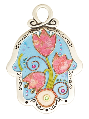 Blue Hamsa Hand with Flowers by Ester Shahaf
