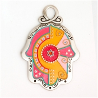 Multicolor Star of David Hamsa Hand by Ester Shahaf