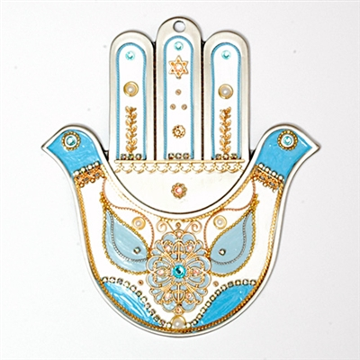 Blue & White Doves Hamsa Hand by Ester Shahaf