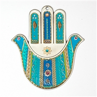 Turquoise Doves Hamsa Hand by Ester Shahaf