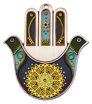 Two Doves Hamsa Hand by Ester Shahaf