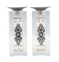 White Silver Crystal Shabbat Candlesticks by Ester Shahaf