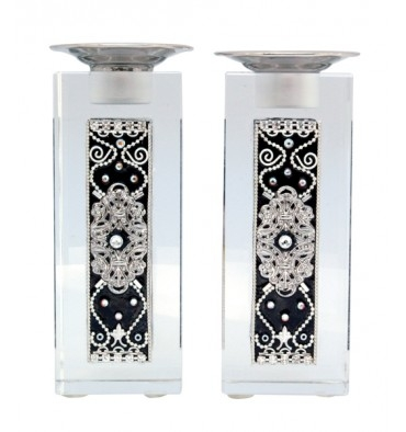 Black & White Shabbat Candlesticks by Ester Shahaf