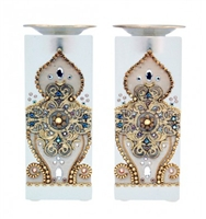 Golden Crystal Shabbat Candlesticks by Ester Shahaf