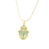 Small Blue Menorah Hamsa Necklace by Ester Shahaf