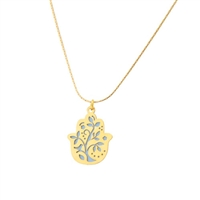 Small White Tree Hamsa Necklace by Ester Shahaf