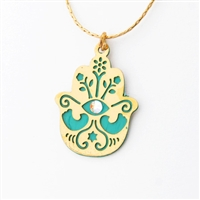 Turquoise Oriental Hamsa Necklace by Ester Shahaf