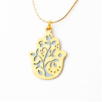 Grey Tree Hamsa Necklace by Ester Shahaf