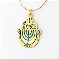 Blue Menorah Hamsa Necklace by Ester Shahaf
