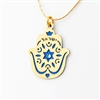 "Blue ""Israel"" Hamsa Necklace by Ester Shahaf"