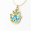 Bluish Oriental Hamsa Necklace by Ester Shahaf