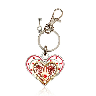 Heart Keyring by Ester Shahaf - White with Hamsa
