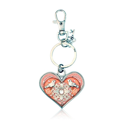 Heart Keyring by Ester Shahaf - Pink with Doves