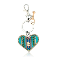 Turquoise Heart Keyring by Ester Shahaf